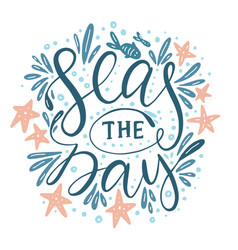 Seas the day card vector