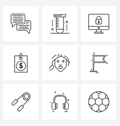 Set 9 universal line icons face mask beauty vector