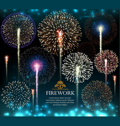 Set fireworks invitation to a holiday vector