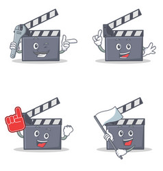 Set of movie clapper character with mechanic foam vector