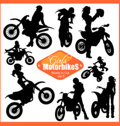 Silhouettes - womans and motorbikes - set vector