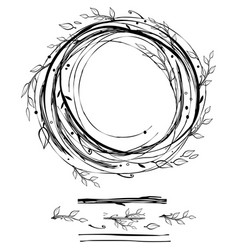 Sketch style nest made floral branches vector