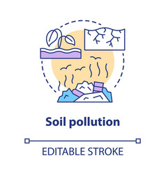 Soil pollution concept icon land waste vector