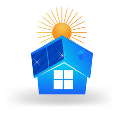 solar environmental house icon vector image