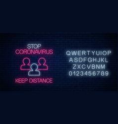 Stop coronavirus neon sign with keep distance vector