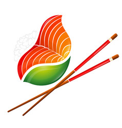 Sushi and rolls with seafood symbol vector