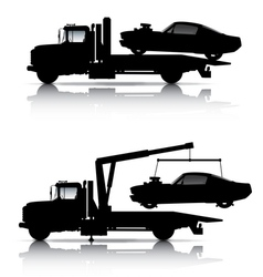 TOW TRUCKS SILHOUETTES vector