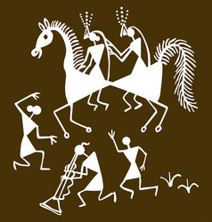 traditional warli painting from northern vector image