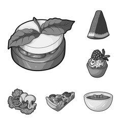 Vegetarian dish monochrome icons in set collection vector