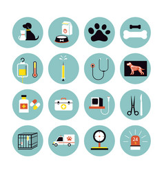 Veterinary flat icons set vector