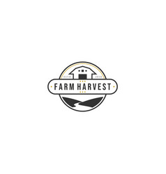 vintage farm harvest logo designs with the rivers vector image