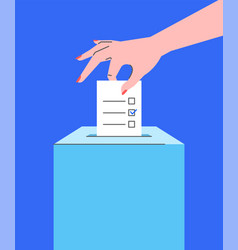 voting concept with hand putting ballot into box vector image
