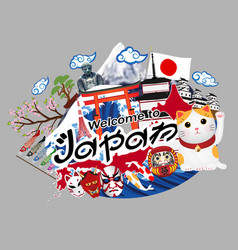 welcome to japan logo with japan object vector image