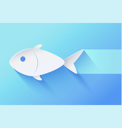 white paper cut fingerling on blue tint icon vector image