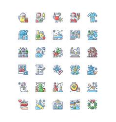 Winter fun rgb color icons set vector