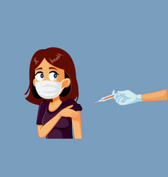 woman wearing medical mask getting a vaccine vector image