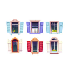 wooden windows with open shutters vector image
