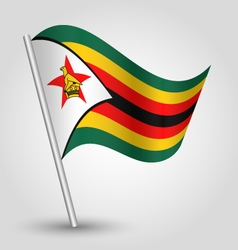 Zimbabwean flag on pole vector