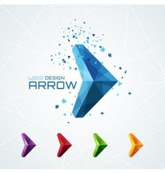 Abstract triangular arrow logo vector image
