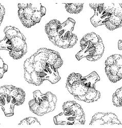Broccoli hand drawn seamless pattern vector image
