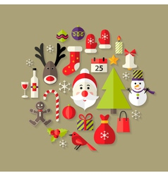 Christmas flat icons set with santa claus vector