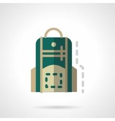 Green knapsack flat color design icon vector image