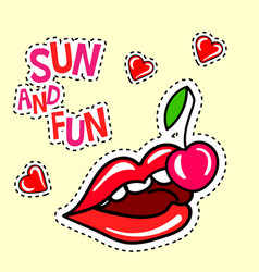 poster with cherry lips and hearts stickers vector image vector image