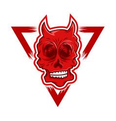 red devil skull vector image vector image