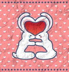 Valentines kissing rabbits vintage card vector image