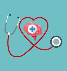 human brain organ stethoscope healthy vector image