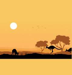 silhouette kangaroo in the hill landscape vector image vector image