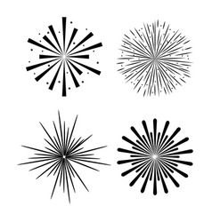 sunburst decorative set icons vector image vector image