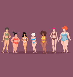women of different height and figure type vector image vector image