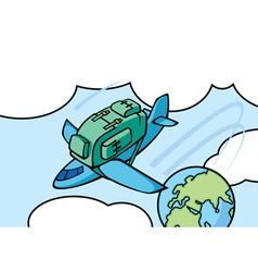 airplane knapsack vector image