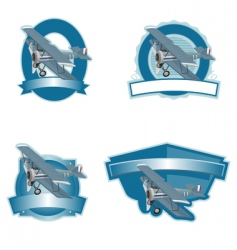 biplane label vector image vector image