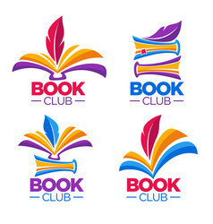 book club library or shop cartoon logo template vector image