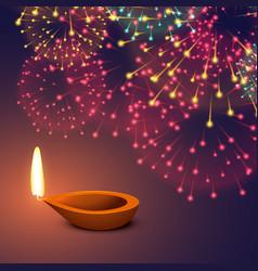 festival fireworks background with diya vector image