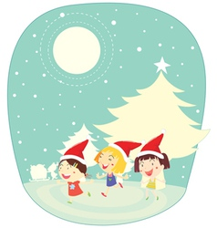 girls in snow vector image vector image
