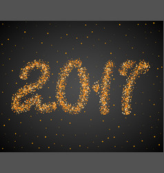 Golden new year 2017 particles background gold vector