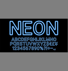 neon font in light blue color vector image