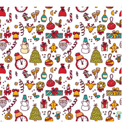 new year christmas objects white seamless pattern vector image