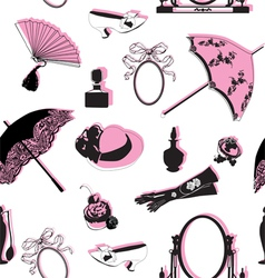 Seamless background with retro objects vector image vector image