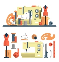 Sewing machine accessories for dressmaking and vector image