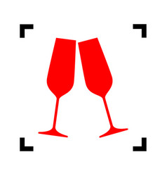 Sparkling champagne glasses red icon vector