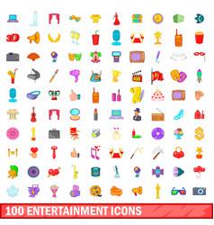 100 entertainment icons set cartoon style vector