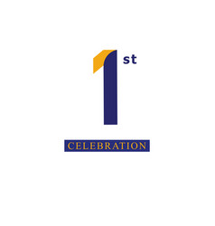 1st anniversary celebration orange blue template vector