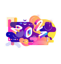 2021 dynamical colored isometric banner with 2021 vector