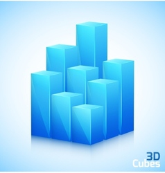 3D cubes in blue color vector