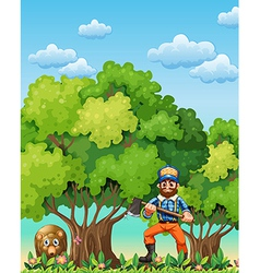 A forest with a bear and a lumberjack vector