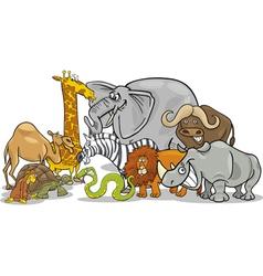 African safari wild animals cartoon vector